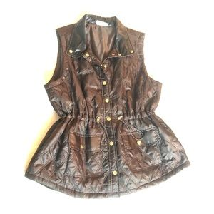 Brown quilted nylon vest Kim Rogers 1x